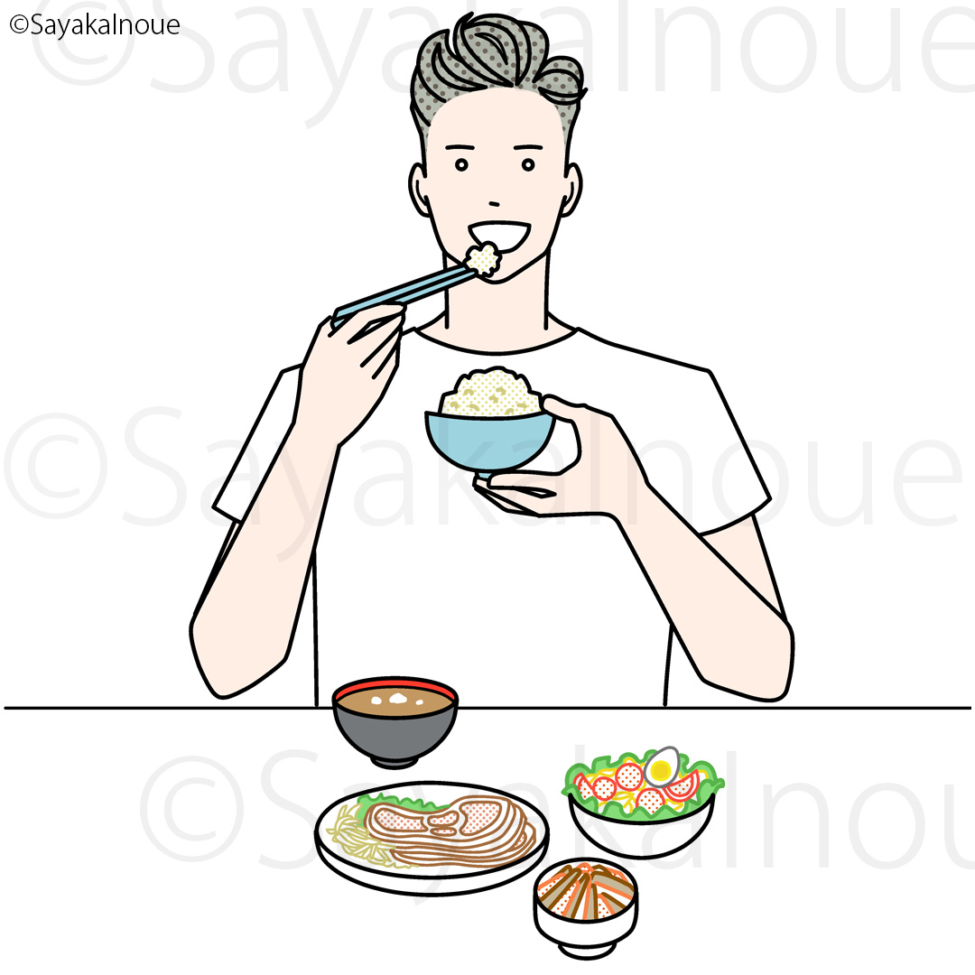 A man eating healthy meal